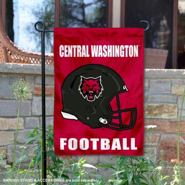 CWU Wildcats Helmet Yard Garden Flag is 13x18 inches in size, is made of 2-layer polyester with Liner, screen printed university athletic logos and lettering, and is readable and viewable correctly on both sides. Available same day shipping, our CWU Wildcats Helmet Yard Garden Flag is officially licensed and approved by the university and the NCAA.