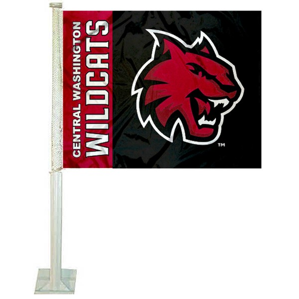 CWU Wildcats Logo Car Flag measures 12x15 inches, is constructed of sturdy 2 ply polyester, and has screen printed school logos which are readable and viewable correctly on both sides. CWU Wildcats Logo Car Flag is officially licensed by the NCAA and selected university.