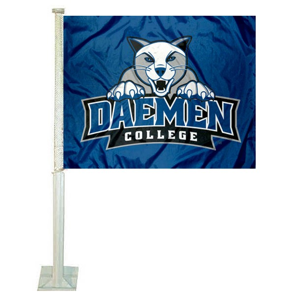 Daemen Wildcats Logo Car Flag measures 12x15 inches, is constructed of sturdy 2 ply polyester, and has screen printed school logos which are readable and viewable correctly on both sides. Daemen Wildcats Logo Car Flag is officially licensed by the NCAA and selected university.