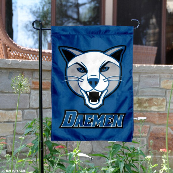 Daemen Wildcats Logo Garden Flag is 13x18 inches in size, is made of 2-layer polyester with liner, screen printed athletic logos and lettering. Available with Same Day Overnight Express Shipping, Our Daemen Wildcats Logo Garden Flag is officially licensed and approved by the university, college and the NCAA.