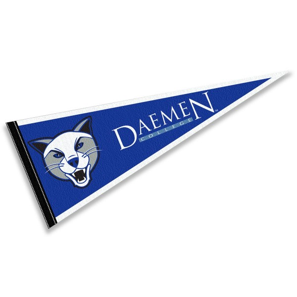 Daemen Wildcats Pennant consists of our full size sports pennant which measures 12x30 inches, is constructed of felt, is single sided imprinted, and offers a pennant sleeve for insertion of a pennant stick, if desired. This Daemen Wildcats Pennant Decorations is Officially Licensed by the selected university and the NCAA.