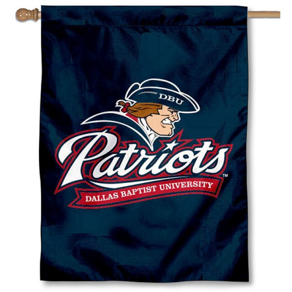 Dallas Baptist Patriots Banner Flag is a vertical house flag which measures 30x40 inches, is made of 2 ply 100% polyester, offers dye sublimated NCAA team insignias, and has a top pole sleeve to hang vertically. Our Dallas Baptist Patriots Banner Flag is officially licensed by the selected university and the NCAA.