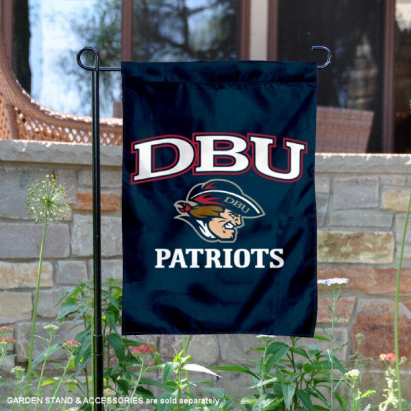 Dallas Baptist Patriots Garden Flag is 13x18 inches in size, is made of 2-layer polyester, screen printed university athletic logos and lettering, and is readable and viewable correctly on both sides. Available same day shipping, our Dallas Baptist Patriots Garden Flag is officially licensed and approved by the university and the NCAA.