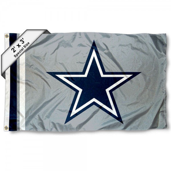 Dallas Cowboys 2x3 Feet Flag measures 2'x3', is made polyester, has quadruple stitched flyends, two metal grommets, and offers screen printed NFL Dallas Cowboys logos and insignias. Our Dallas Cowboys 2x3 Foot Flag is NFL Officially Licensed and approved.