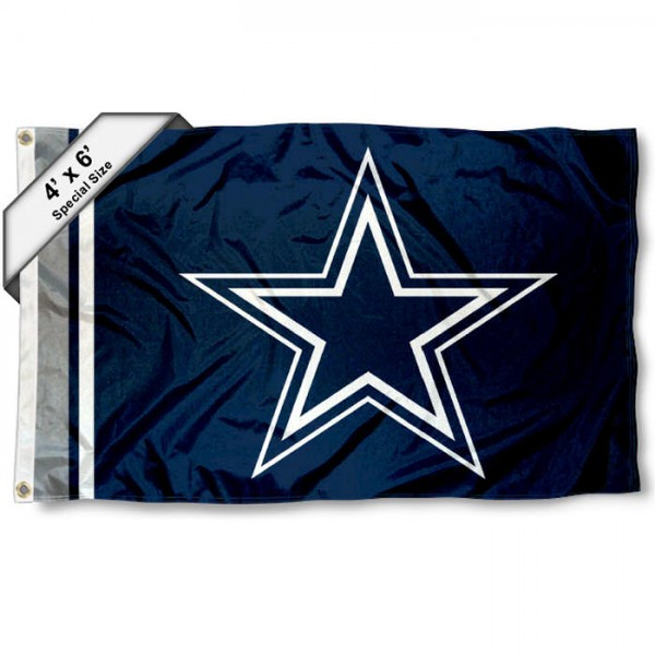 Dallas Cowboys 4x6 Flag measures a large 4x6 feet, is made polyester, has quadruple stitched flyends, two metal grommets, and offers screen printed NFL Dallas Cowboys logos and insignias. Our Dallas Cowboys 4x6 Foot Flag is NFL Officially Licensed and Dallas Cowboys approved.