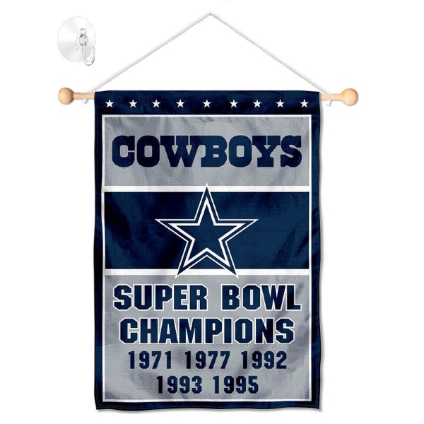 "Dallas Cowboys 5 Time Champions Window and Wall Banner kit includes our 12.5""x18"" garden banner which is made of 2 ply poly with liner and has screen printed licensed logos. Also, a 17"" wide banner pole with suction cup is included so your Dallas Cowboys 5 Time Champions Window and Wall Banner is ready to be displayed with no tools needed for setup. Fast Overnight Shipping is offered and the flag is Officially Licensed and Approved by the selected team."