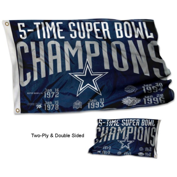 Dallas Cowboys 5 Time Super Bowl Champions Flag measures 3'x5', is made of 2-ply double sided polyester with liner, has quadruple stitched sewing, two metal grommets, and has two sided team logos. Our Dallas Cowboys 5 Time Super Bowl Champions Flag is officially licensed by the selected team and the NFL and is available with overnight express shipping.