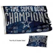 Dallas Cowboys 5 Time Super Bowl Champions Flag