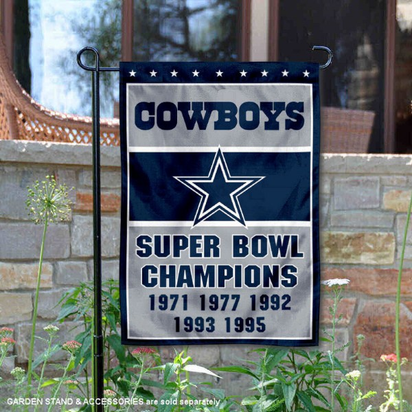 Dallas Cowboys 5 Time Super Bowl Champs Garden Flag is 12.5x18 inches in size, is made of 2-ply polyester, and has two sided screen printed logos and lettering. Available with Express Next Day Ship, our Dallas Cowboys 5 Time Super Bowl Champs Garden Flag is NFL Officially Licensed and is double sided.