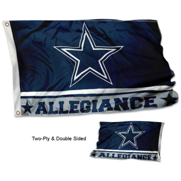 Dallas Cowboys Allegiance Flag measures 3'x5', is made of 2-ply double sided polyester with liner, has quadruple stitched sewing, two metal grommets, and has two sided team logos. Our Dallas Cowboys Allegiance Flag is officially licensed by the selected team and the NFL and is available with overnight express shipping.