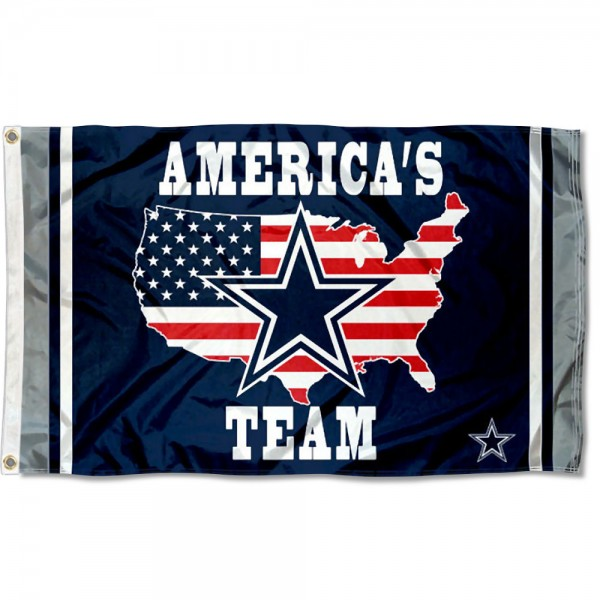Our Dallas Cowboys Americas Team Flag is double sided, made of poly, 3'x5', has two metal grommets, indoor or outdoor, and four-stitched fly ends. These Dallas Cowboys Americas Team Flags are Officially Approved by the Dallas Cowboys.