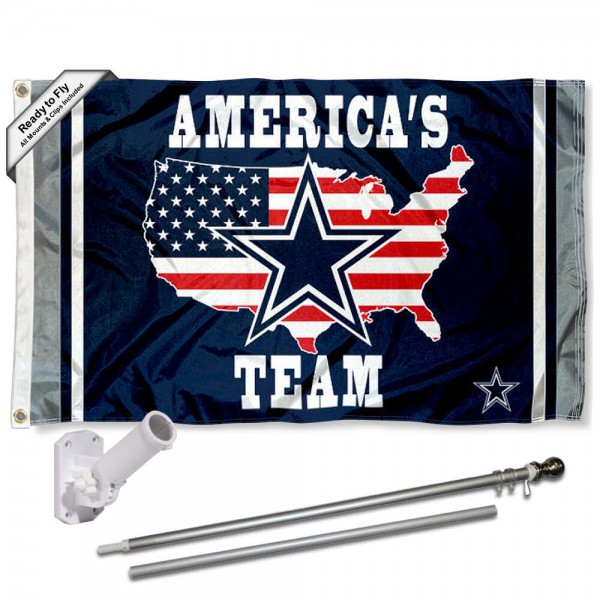 Our Dallas Cowboys Americas Team Slogan Flag Pole and Bracket Kit includes the flag as shown and the recommended flagpole and flag bracket. The flag is made of polyester, has quad-stitched flyends, and the NFL Licensed team logos are double sided screen printed. The flagpole and bracket are made of rust proof aluminum and includes all hardware so this kit is ready to install and fly.