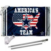Dallas Cowboys Americas Team Slogan Flag Pole and Bracket Kit