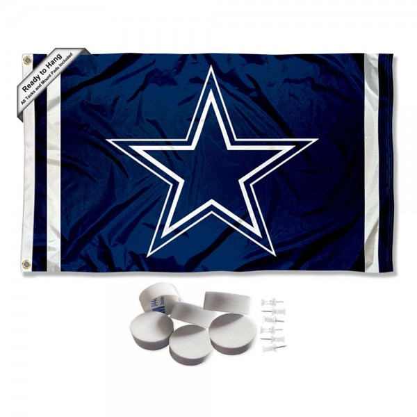 Our Dallas Cowboys Banner Flag with Tack Wall Pads is double sided, made of poly, 3'x5', has two metal grommets, indoor or outdoor, and four-stitched fly ends. These Dallas Cowboys Banner Flag with Tack Wall Padss are Officially Approved by the Dallas Cowboys. Tapestry Wall Hanging Tack Pads which include a 6 pack of banner display pads with 6 tacks allowing you to hang your pennant on any wall damage-free.
