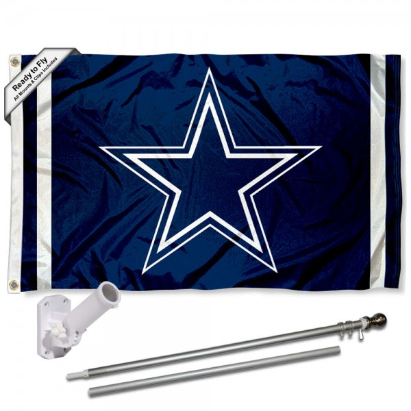 Our Dallas Cowboys Blue Flag Pole and Bracket Kit includes the flag as shown and the recommended flagpole and flag bracket. The flag is made of polyester, has quad-stitched flyends, and the NFL Licensed team logos are double sided screen printed. The flagpole and bracket are made of rust proof aluminum and includes all hardware so this kit is ready to install and fly.