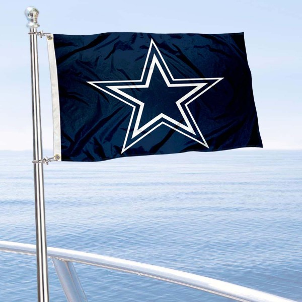 "Our Dallas Cowboys Boat and Nautical Flag is 12""x18"", made of three-ply poly, has a solid header with two metal grommets, and is double sided. This Boat and Nautical Flag for Dallas Cowboys is Officially Licensed by the NFL and can also be used as a motorcycle flag, boat flag, golf cart flag, or recreational flag."