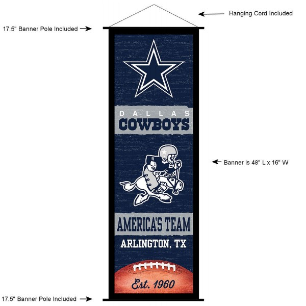 """This """"ready to hang"""" Dallas Cowboys Decor and Banner is made of polyester material, measures a large 17.5"""" x 48"""", offers screen printed athletic logos, and includes both top and bottom 3/4"""" diameter plastic banner poles and hanging cord. Our Dallas Cowboys D�cor and Banner is Officially Licensed by the selected team and NFL."""