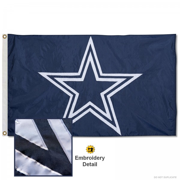 This Dallas Cowboys Embroidered Nylon Flag is double sided, made of nylon, 3'x5', has two metal grommets, indoor or outdoor, and four-stitched fly ends. These Dallas Cowboys Embroidered Nylon Flags are Officially Approved the Dallas Cowboys and NFL.