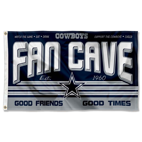 Our Dallas Cowboys Fan Cave Flag Large Banner is double sided, made of poly, 3'x5', has two metal grommets, indoor or outdoor, and four-stitched fly ends. These Dallas Cowboys Fan Cave Flag Large Banners are Officially Approved by the Dallas Cowboys.