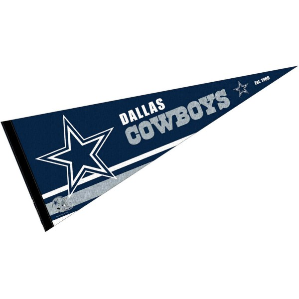 This Dallas Cowboys Full Size Pennant is 12x30 inches, is made of premium felt blends, has a pennant stick sleeve, and the team logos are single sided screen printed. Our Dallas Cowboys Full Size Pennant is NFL Officially Licensed.