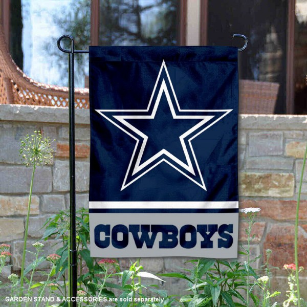 Dallas Cowboys Garden Flag is 12.5x18 inches in size, is made of 2-ply polyester, and has two sided screen printed logos and lettering. Available with Express Next Day Ship, our Dallas Cowboys Garden Flag is NFL Officially Licensed and is double sided.