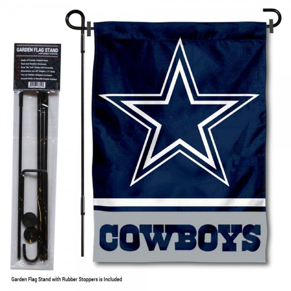 "Dallas Cowboys Garden Flag and Stand kit includes our 13""x18"" garden banner which is made of 2 ply poly with liner and has screen printed licensed logos. Also, a 40""x17"" inch garden flag stand is included so your Dallas Cowboys Garden Flag and Stand is ready to be displayed with no tools needed for setup. Fast Overnight Shipping is offered and the flag is Officially Licensed and Approved by the selected team."
