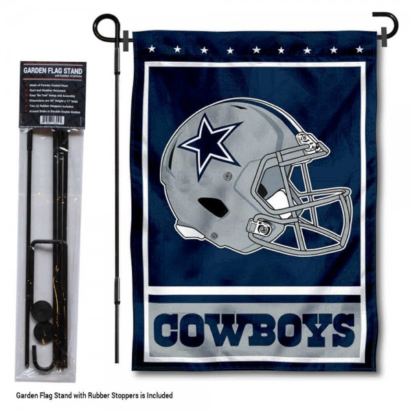 "Dallas Cowboys Helmet Garden Banner and Flag Stand kit includes our 13""x18"" garden banner which is made of 2 ply poly with liner and has screen printed licensed logos. Also, a 40""x17"" inch garden flag stand is included so your Dallas Cowboys Helmet Garden Banner and Flag Stand is ready to be displayed with no tools needed for setup. Fast Overnight Shipping is offered and the flag is Officially Licensed and Approved by the selected team."