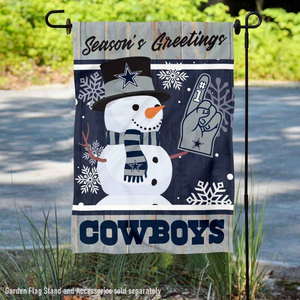 Dallas Cowboys Holiday Winter Snow Double Sided Garden Flag is 12.5x18 inches in size, is made of 2-ply polyester, and has two sided screen printed logos and lettering. Available with Express Next Day Ship, our Dallas Cowboys Holiday Winter Snow Double Sided Garden Flag is NFL Officially Licensed and is double sided.