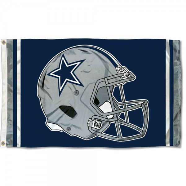 Our Dallas Cowboys New Helmet Flag is two sided, made of poly, 3'x5', Overnight Shipping, has two metal grommets, indoor or outdoor, and four-stitched fly ends. These Dallas Cowboys New Helmet Flags are Officially Approved by the Dallas Cowboys.