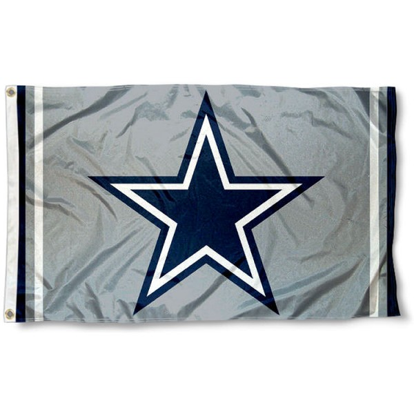 Our Dallas Cowboys Silver Flag is double sided, made of poly, 3'x5', has two metal grommets, indoor or outdoor, and four-stitched fly ends. These Dallas Cowboys Silver Flags are Officially Approved by the Dallas Cowboys.