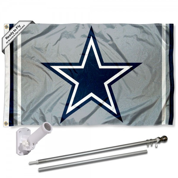 Our Dallas Cowboys Silver Flag Pole and Bracket Kit includes the flag as shown and the recommended flagpole and flag bracket. The flag is made of polyester, has quad-stitched flyends, and the NFL Licensed team logos are double sided screen printed. The flagpole and bracket are made of rust proof aluminum and includes all hardware so this kit is ready to install and fly.