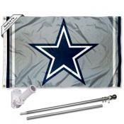 Dallas Cowboys Silver Flag Pole and Bracket Kit