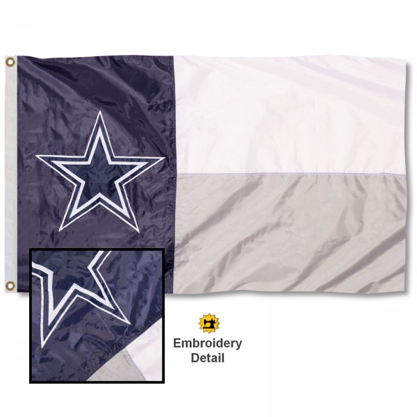 This Dallas Cowboys State of Texas Embroidered Nylon Flag is double sided, made of nylon, 3'x5', has two metal grommets, indoor or outdoor, and four-stitched fly ends. These Dallas Cowboys State of Texas Embroidered Nylon Flags are Officially Approved the Dallas Cowboys and NFL.
