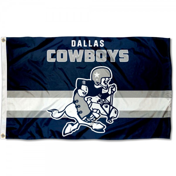 Our Dallas Cowboys Throwback Retro Vintage Logo Flag is double sided, made of poly, 3'x5', has two metal grommets, indoor or outdoor, and four-stitched fly ends. These Dallas Cowboys Throwback Retro Vintage Logo Flags are Officially Approved by the Dallas Cowboys.