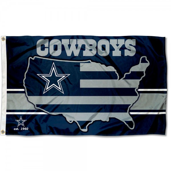 Our Dallas Cowboys USA Country Flag is double sided, made of poly, 3'x5', has two metal grommets, indoor or outdoor, and four-stitched fly ends. These Dallas Cowboys USA Country Flags are Officially Approved by the Dallas Cowboys.