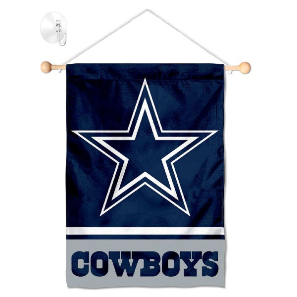 "Dallas Cowboys Window and Wall Banner kit includes our 12.5""x18"" garden banner which is made of 2 ply poly with liner and has screen printed licensed logos. Also, a 17"" wide banner pole with suction cup is included so your Dallas Cowboys Window and Wall Banner is ready to be displayed with no tools needed for setup. Fast Overnight Shipping is offered and the flag is Officially Licensed and Approved by the selected team."
