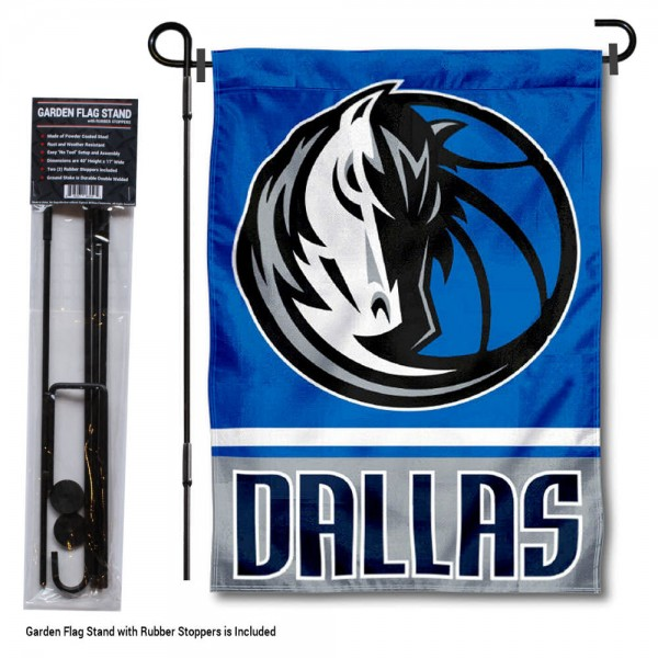 "Dallas Mavericks Garden Flag and Flagpole Stand kit includes our 12.5""x18"" garden banner which is made of 2 ply poly with liner and has screen printed licensed logos. Also, a 40""x17"" inch garden flag stand is included so your Dallas Mavericks Garden Flag and Flagpole Stand is ready to be displayed with no tools needed for setup. Fast Overnight Shipping is offered and the flag is Officially Licensed and Approved by the selected team."
