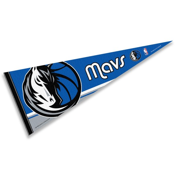 This Dallas Mavericks Pennant measures 12x30 inches, is constructed of felt, and is single sided screen printed with the Dallas Mavericks logo and insignia. Each Dallas Mavericks Pennant is a NBA Officially Licensed product.