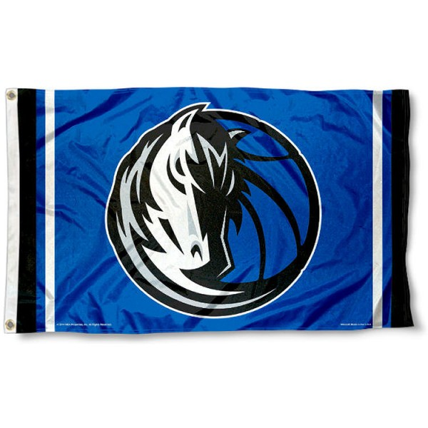 The Dallas Mavericks Team Flag is four-stitched bordered, double sided, made of poly, 3'x5', and has two grommets. These Dallas Mavericks Team Flags are NBA Genuine Merchandise.