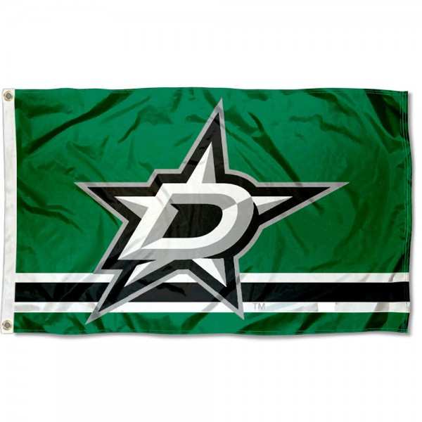 The Dallas Stars Flag is four-stitched bordered, double sided, made of poly, 3'x5', and has two grommets. These Dallas Stars Flags are NHL Genuine Merchandise.