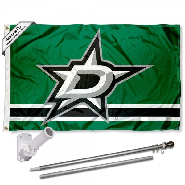 Our Dallas Stars Flag Pole and Bracket Kit includes the flag as shown and the recommended flagpole and flag bracket. The flag is made of polyester, has quad-stitched flyends, and the NHL Licensed team logos are double sided screen printed. The flagpole and bracket are made of rust proof aluminum and includes all hardware so this kit is ready to install and fly.