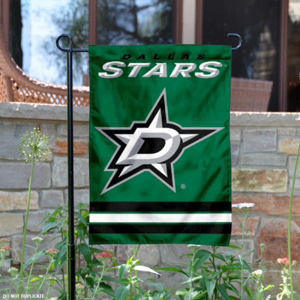 Dallas Stars Garden Flag is 12.5x18 inches in size, is made of 2-ply polyester, and has two sided screen printed logos and lettering. Available with Express Next Day Ship, our Dallas Stars Garden Flag is NHL Officially Licensed and is double sided.
