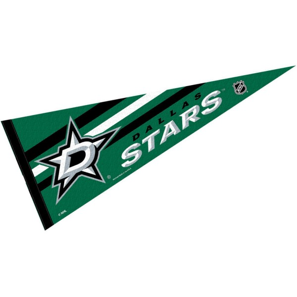 Dallas Stars NHL Pennant is our full size 12x30 inch pennant which is made of felt, is single sided screen printed, and is perfect for decorating at home or office. Display your NHL hockey allegiance with this NHL Genuine Merchandise item.