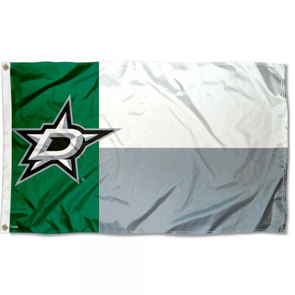 The Dallas Stars State of Texas Flag is four-stitched bordered, double sided, made of poly, 3'x5', and has two grommets. These Dallas Stars State of Texas Flags are NHL Genuine Merchandise.