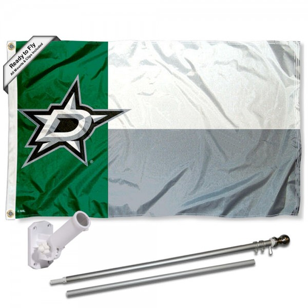 Our Dallas Stars Texas State Flag Pole and Bracket Kit includes the flag as shown and the recommended flagpole and flag bracket. The flag is made of polyester, has quad-stitched flyends, and the NHL Licensed team logos are double sided screen printed. The flagpole and bracket are made of rust proof aluminum and includes all hardware so this kit is ready to install and fly.