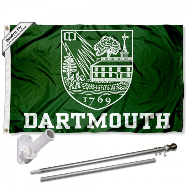 Our Dartmouth Big Green Flag Pole and Bracket Kit includes the flag as shown and the recommended flagpole and flag bracket. The flag is made of nylon, has quad-stitched flyends, and the NCAA Licensed team logos are double sided screen printed. The flagpole and bracket are made of rust proof aluminum and includes all hardware so this kit is ready to install and fly.