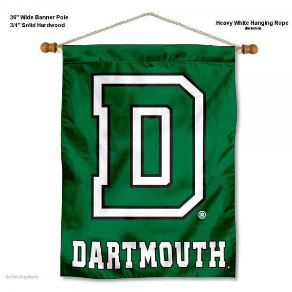 """Dartmouth Big Green Wall Banner is constructed of polyester material, measures a large 30""""x40"""", offers screen printed athletic logos, and includes a sturdy 3/4"""" diameter and 36"""" wide banner pole and hanging cord. Our Dartmouth Big Green Wall Banner is Officially Licensed by the selected college and NCAA."""