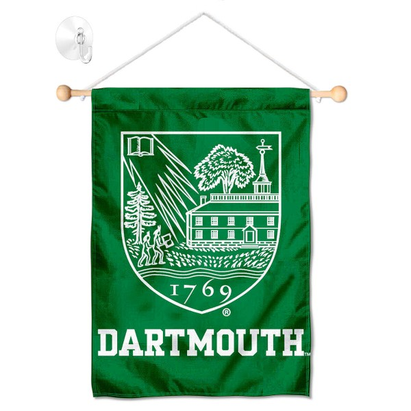 """Dartmouth Big Green Window and Wall Banner kit includes our 13""""x18"""" garden banner which is made of 2 ply poly with liner and has screen printed licensed logos. Also, a 17"""" wide banner pole with suction cup is included so your Dartmouth Big Green Window and Wall Banner is ready to be displayed with no tools needed for setup. Fast Overnight Shipping is offered and the flag is Officially Licensed and Approved by the selected team."""