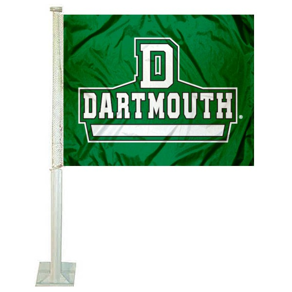 Dartmouth College Car Flag measures 12x15 inches, is constructed of sturdy 2 ply polyester, and has screen printed school logos which are readable and viewable correctly on both sides. Dartmouth College Car Flag is officially licensed by the NCAA and selected university.