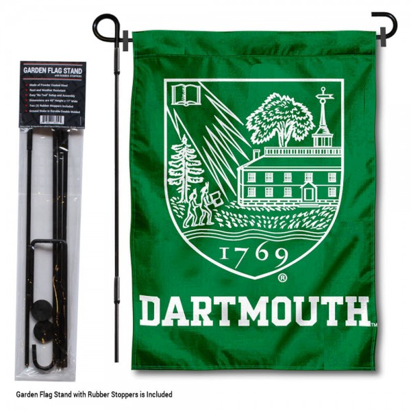 "Dartmouth College Garden Flag and Stand kit includes our 13""x18"" garden banner which is made of 2 ply poly with liner and has screen printed licensed logos. Also, a 40""x17"" inch garden flag stand is included so your Dartmouth College Garden Flag and Stand is ready to be displayed with no tools needed for setup. Fast Overnight Shipping is offered and the flag is Officially Licensed and Approved by the selected team."
